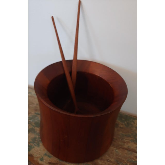 This is a gorgeous rare Dansk staved teak salad serving bowl. Designed by Jens Quistgaard, this is one of Dansk's earlier...