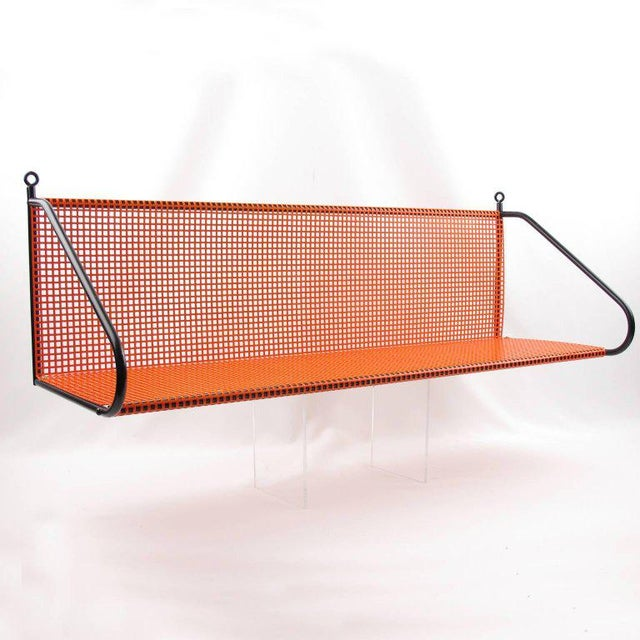 Lacquer Mathieu Mategot Style Orange Perforated Metal Wall Bookshelf For Sale - Image 7 of 8