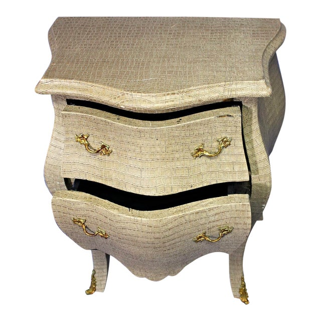 Louis XV Faux Crocodile Skin Bombe Nightstands - Image 2 of 8