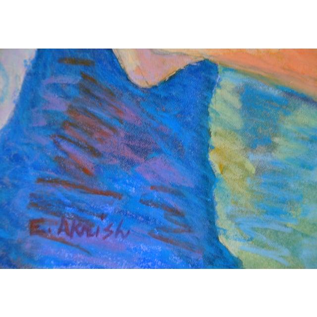 "Esther Akrish ""Pensive"" Original Watercolor For Sale - Image 4 of 4"