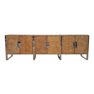 1970s Mid-Century Modern Burlwood and Chrome Credenza For Sale