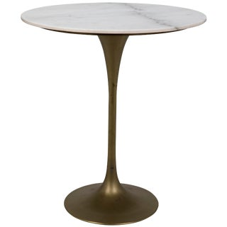 "Laredo Bar Table 36"", Antique Brass, White Marble Top For Sale"