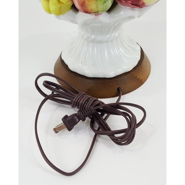 Wood Italian Mid-Century Ceramic Fruit Basket Lamp For Sale - Image 7 of 12