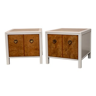 Pair of Drexel Heritage Burl Wood and Lacquered End Tables For Sale
