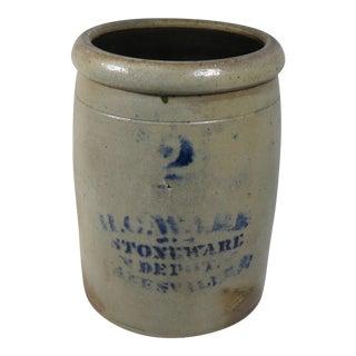 Antique American Stoneware 2 Gallon Storage Jar For Sale