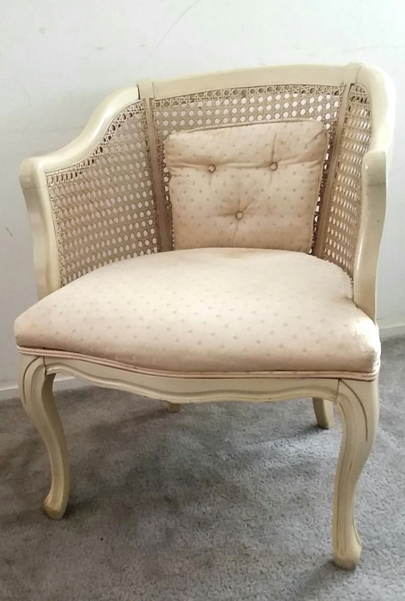 French Provincial 20th Century French Provincial Caned Barrel Chair For  Sale   Image 3 Of 9
