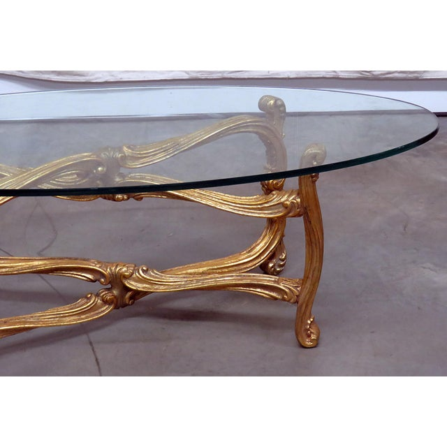Hollywood Regency Hollywood Regency Glass Top Coffee Table For Sale - Image 3 of 9