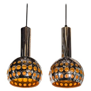 Pair of French Mid-Century Modern Geometric Chrome Pendants Lights For Sale