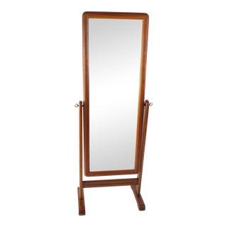 Danish Modern Teak Cheval Standing Mirror