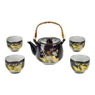 Vintage Japanese Tea Set With Gilt Peacock Design - 5 piece set