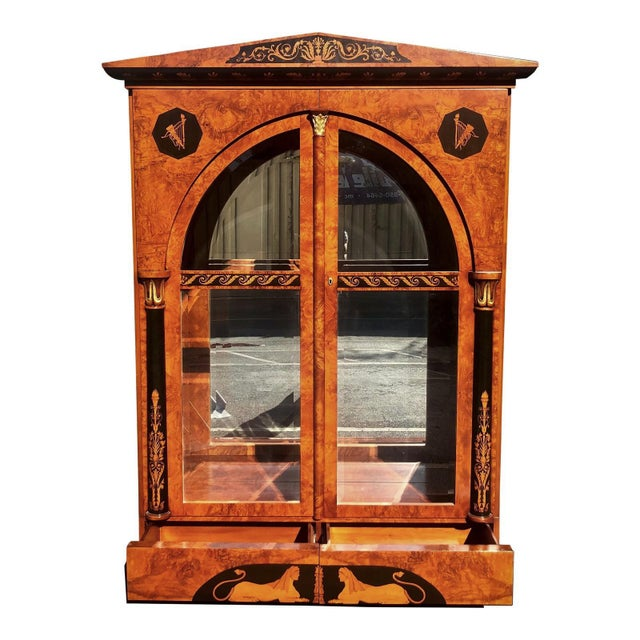 Wood Versace Style Giemme Italian Neoclassical Inlaid Breakfront China Display Cabinet For Sale - Image 7 of 7