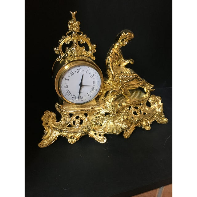 Metal Italian Polish Brass Mantel Clock Statue of a Woman For Sale - Image 7 of 7