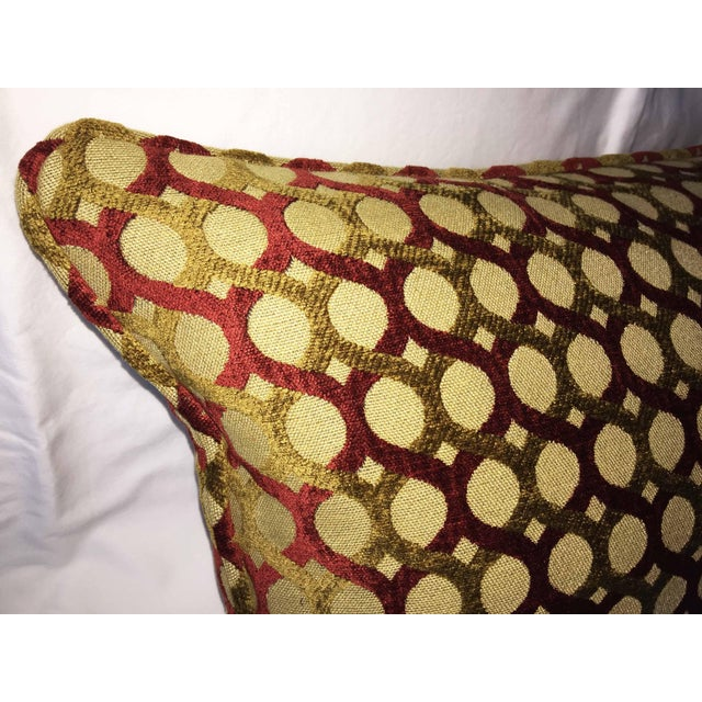 Contemporary Burgundy & Gold Chenille Accent Pillow Cover For Sale - Image 3 of 3