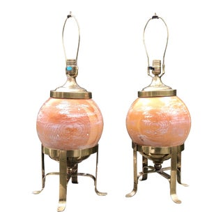 A Pair of Mid-Century Wood Globe Lamps With Brass Accents For Sale