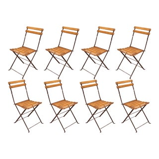 1920s French Polished Iron and Wood Folding Bistrot Chairs, Set of Eight For Sale