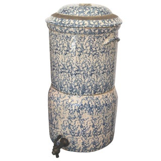 19th Century Two-Piece Sponge Ware Water Cooler For Sale