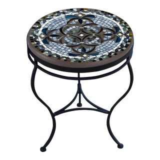 """Roma 18"""" Side Table with Black Iron Base For Sale"""