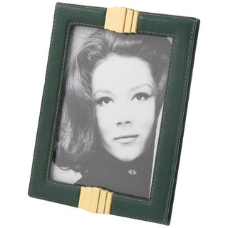 French Hand-Stitched Green Leather and Brass Picture Photo Frame