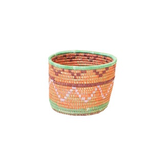 Handwoven Rwandan Sweetgrass Multicolor Coil Planter Basket