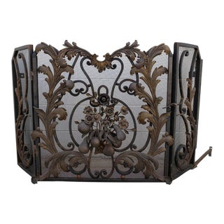 Fireplace Screen, French Fruit & Leaves Iron For Sale