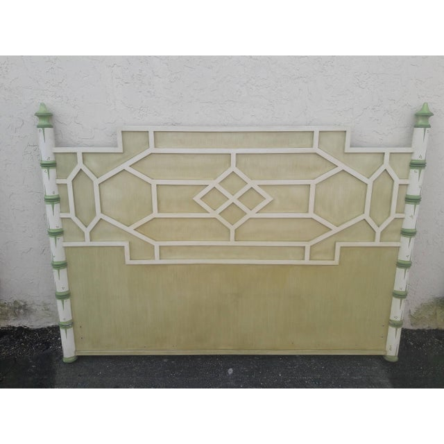I have never seen this outstanding queen headboard. The design is a pagoda style with raised geometric fretwork. The piece...