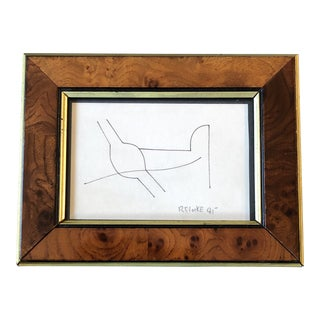 Original Vintage Miniature Robert Cooke Abstract Ink Drawing Burled Wood Frame For Sale