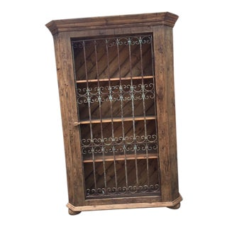 Antique Wrought Iron Gate Door European Pine Bookcase For Sale