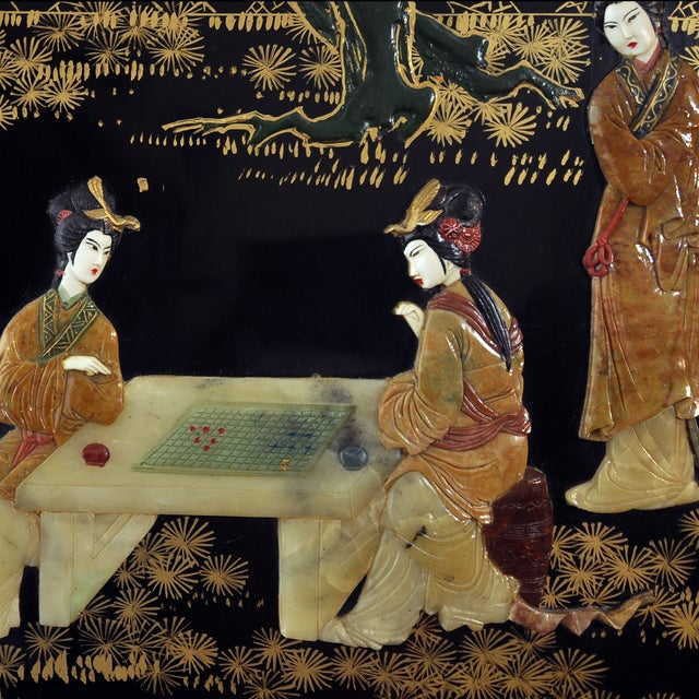 Vintage Chinese 4 Panel Lacquered Hardstone Screen - Image 5 of 10