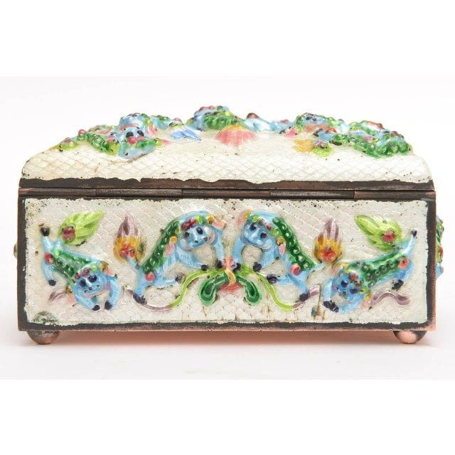 "Rococo Vintage Chinese Rare Metal and Enamel ""Good Luck"" Box For Sale - Image 3 of 10"