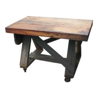 Rustic Trussed Work Table on Wheels