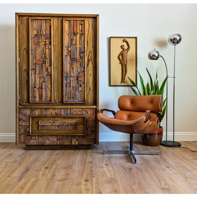 Completely and beautifully restored Brutalist armoire dresser inspired by the work of American designer Paul Evans and...