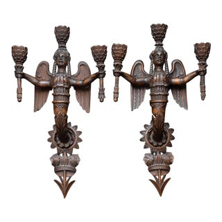Early 19th Century Neoclassical Carved Giltwood Sconces - a Pair For Sale