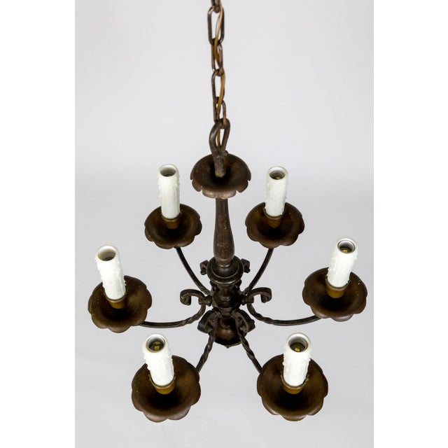 Renaissance Revival Renaissance Revival Six-Light Candlestick Chandelier For Sale - Image 3 of 11
