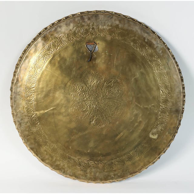 Early 20th Century Large Moorish Middle Eastern Hanging Brass Tray Platter For Sale - Image 5 of 6