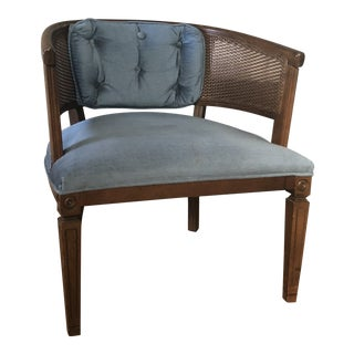 Mid-Century Barrel Cane Blue Velvet Chair For Sale