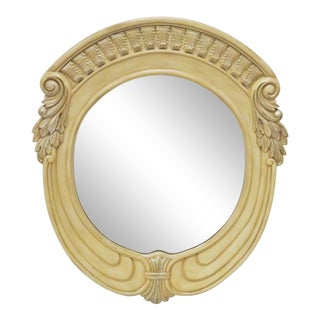 Italian Style Distressed Cream Painted Oval Carved Mirror For Sale