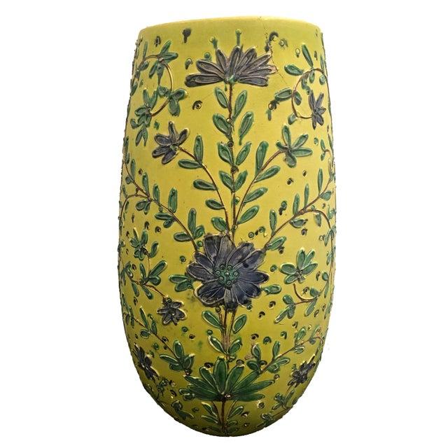 Shabby Chic 1940s Italian Majolica Vase For Sale - Image 3 of 6