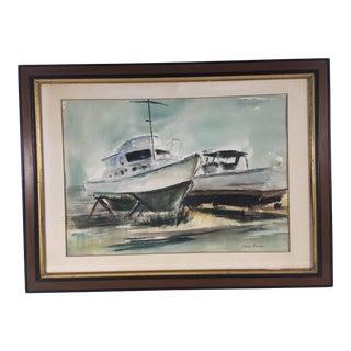 Original Nautical Watercolor Painting by Alisa Burke For Sale