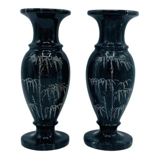 1960s Italian Marble Vases With Etched Bamboo Motif - a Pair For Sale