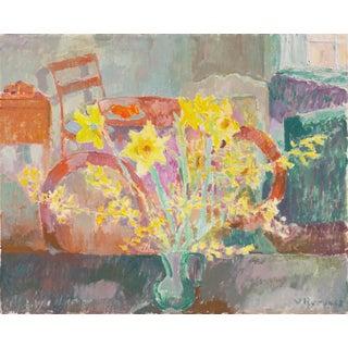 'Still Life of Daffodils' by Viggo Rorup, 1963, Paris Modernist, Royal Danish Academy, Charlottenborg For Sale