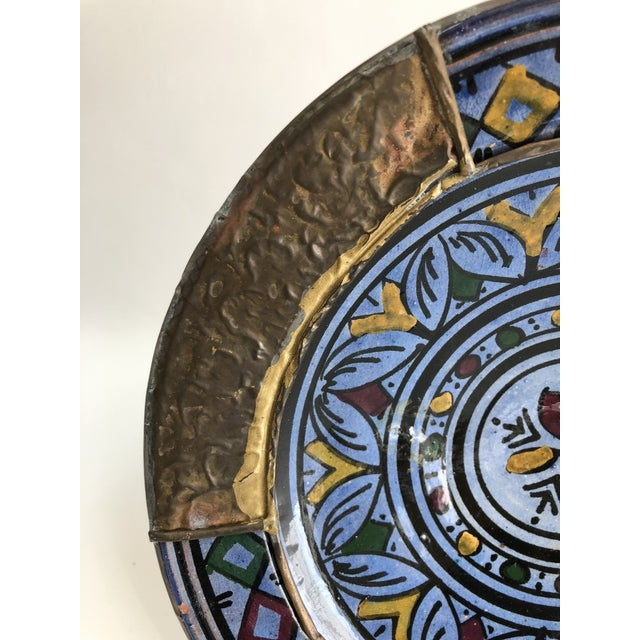 1970s Vintage Indigo Blue & Brass Hand Painted Moroccan Boho Chic Wall Plate For Sale - Image 4 of 6