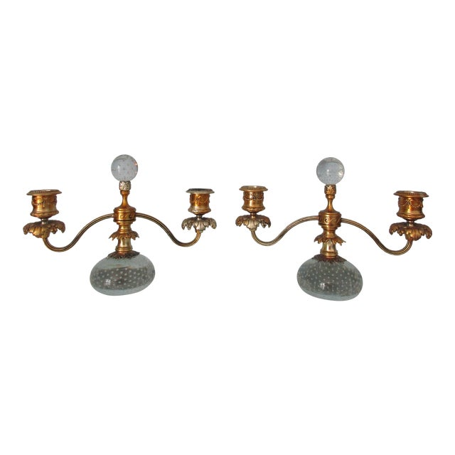 Pairpoint Gilt Metal and Bubble Glass Candelabras - A Pair For Sale