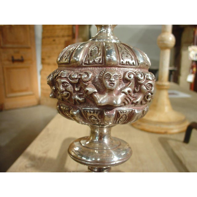 Pair of Antique Louis XIV Style Silvered Bronze Andirons For Sale In Dallas - Image 6 of 8