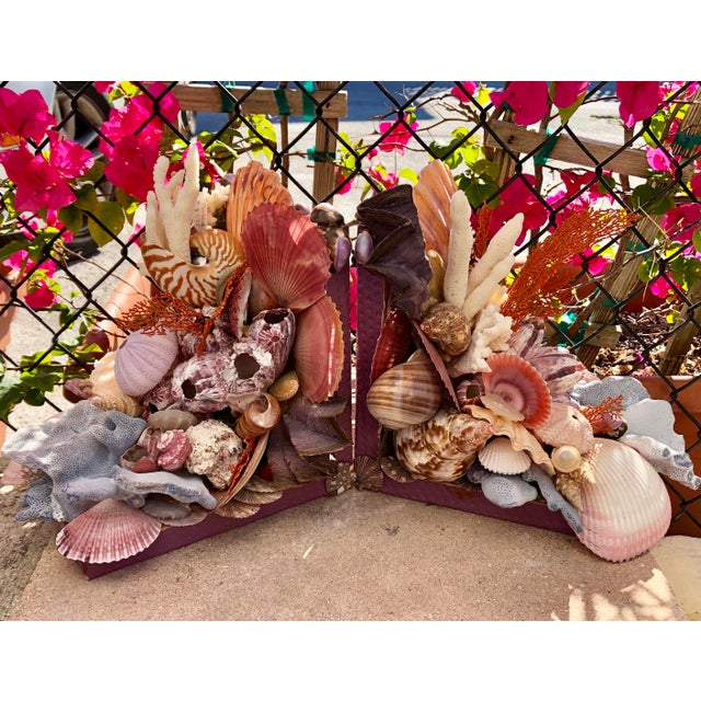 Purple Seashell-Encrusted Bookends - A Pair For Sale - Image 8 of 8