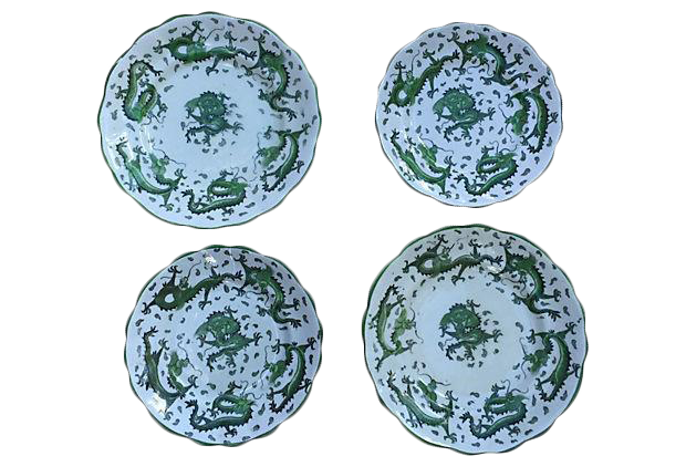 Antique Asian Jade Green Dragons Wall Decor Plates c.1900 - Set of 4 | Chairish  sc 1 st  Chairish & Antique Asian Jade Green Dragons Wall Decor Plates c.1900 - Set of 4 ...