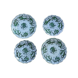 Antique Asian Jade Green Dragons Wall Decor Plates c.1900 - Set of 4