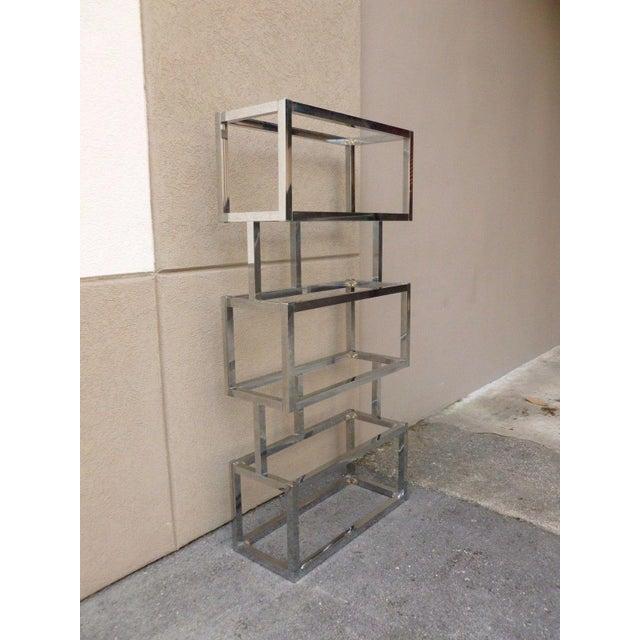 Pair of Mod Space Age Chromed Aluminum Rectangular Cubed Étagères For Sale - Image 11 of 13