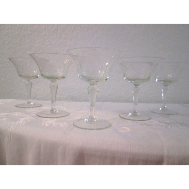Mid-Century Etched Grape Cocktail Coupes - S/6 - Image 2 of 6