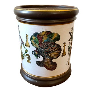 Vintage Fornasetti Style Chess Italian Pottery Jar For Sale