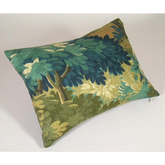 Contemporary Verdure Print Linen Lumbar Pillow Cover For Sale - Image 3 of 8